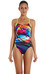 speedo Endurance+ Tempoflo Placement Digital Rippleback Swimsuit Women oxid/lime/diva